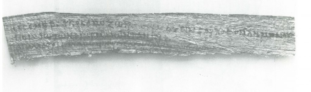 A long strip of papyrus with Greek writing.