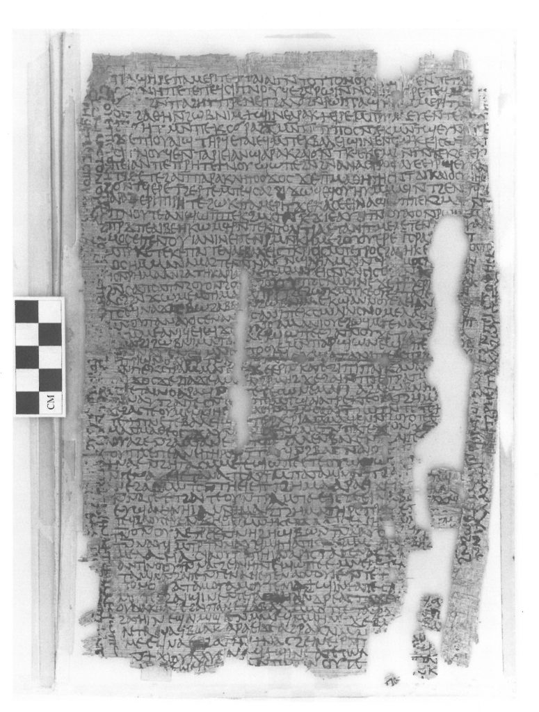 Black and white image of a fragmentary papyrus, with text written in Coptic.
