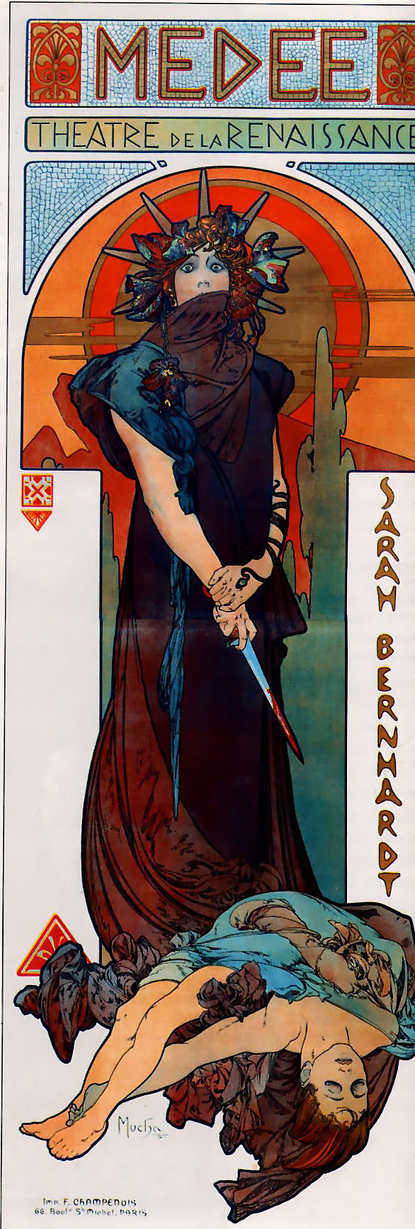 """An early 20th century poster for the play Medea. At the top is the title """"Medée"""", and below is written """"Théatre de la Renaissance"""". A woman wearing a pointed crown stands in the middle, holding a bloody dagger in her left hand, and wearing a dark robe with a scarf which covers her mouth. To her right is written the name of the actress, """"Sarah Bernhardt"""", and on the ground lies a young man in a tunic with his eyes closed. In the background the sky is red, and a deeper red sun frames the woman's head."""