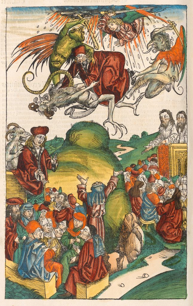 A medieval woodcut; in the sky a man dressed in red is being pulled at by three demons in the shape of hybrid human-animal beings, and an angel reaches out from a cloud to strike the man with a sword. On the ground a crowd are looking up at the man in the air.