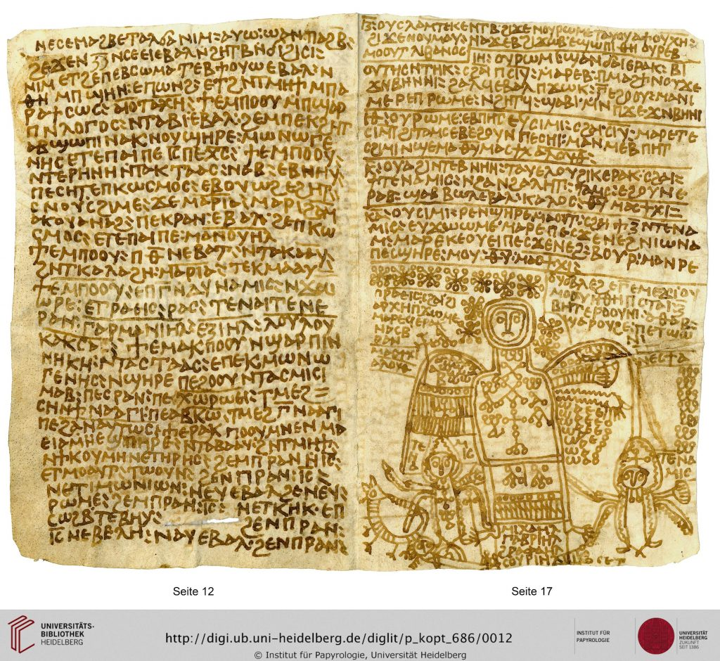 Image of two open pages of a parchment codex, written in Coptic with brown ink. On the right-hand page is a line drawing of an angel surrounded by magical signs.