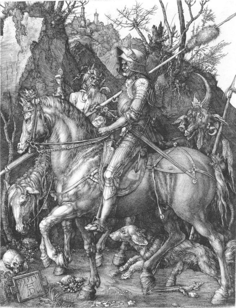 A print of an engraving: An armoured knight, accompanied by his dog, rides through a narrow gorge flanked by a goat-headed devil and the figure of death riding a pale horse. (Description from Wikipedia).