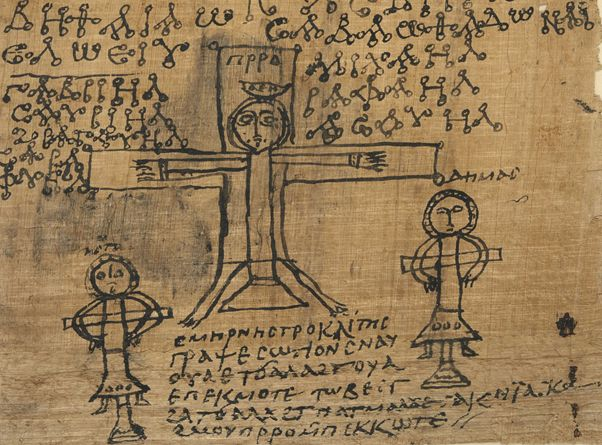 A closer-up, colour image of the drawing from the papyrus at the beginning of this article. Jesus is being crucified in the centre, with the two thieves at his sides. Above him are magical signs, while below is a short Coptic text.