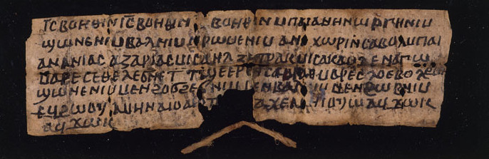 An image of a long strip of paper, folded several times, with 6 lines of Coptic written on it.