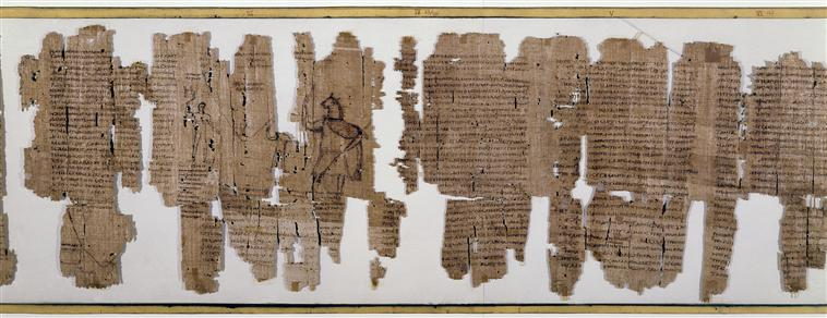 Image of a fragmentary papyrus showing 5 columns of text written in Greek.