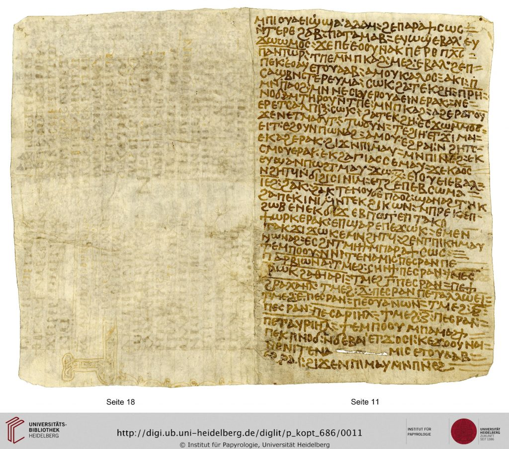 A roughly square piece of whitish parchment, folded in two to produce two pages of a codex. The right-hand page is written in Coptic, while on the left hand page remains of two columns of Coptic text can be seen, largely washed away, at 90 degrees to the newer text.