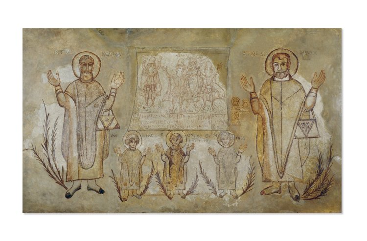 Stucco wall painting of SS Cosmas and Damian; between them are the figures of Anthemos, Leontios and Euprepios; above a monochrome panel with Three Children in the Furnace and a Coptic inscription. (Description from https://www.britishmuseum.org/research/collection_online/collection_object_details.aspx?objectId=146894&partId=1&searchText=73139&page=1)