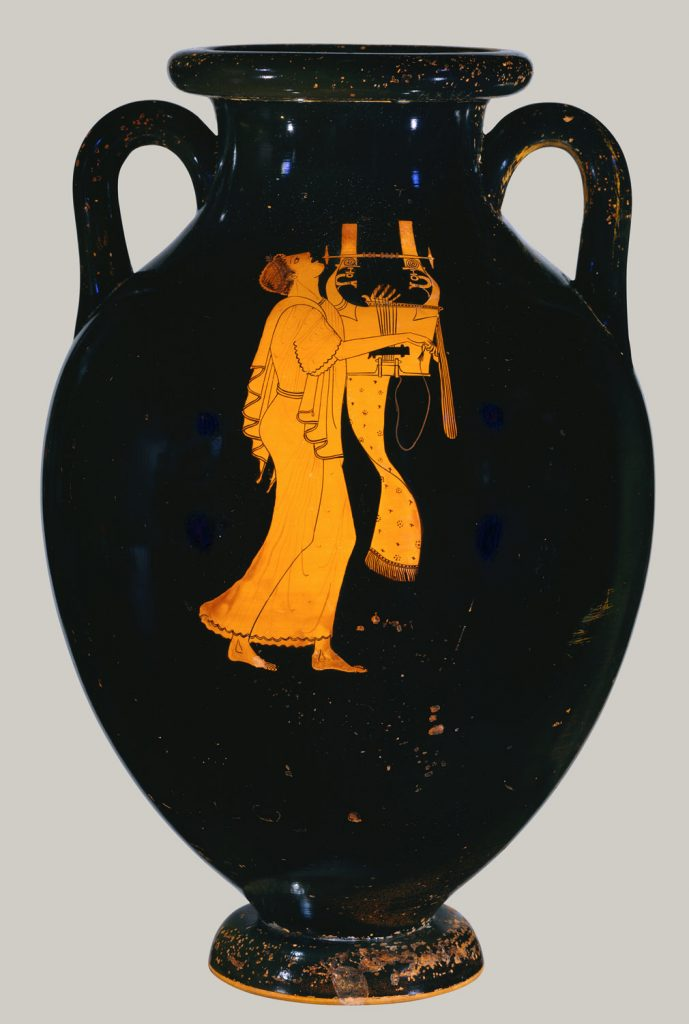 This work is a masterpiece of Greek vase-painting because it brings together many features of Athenian culture in an artistic expression of the highest quality. The shape itself is central to the effect. Through the symmetry, scale, and luminously glossy glaze on the obverse, it offers a carefully composed three-dimensional surface that endows the subject with volume. The identity of the singer is given by his instrument, the kithara, which was a type of lyre used in public performances, including recitations of epic poetry. The figure on the reverse is identified by his garb and wand. While the situation is probably a competition, the subject is the music itself. It transports the performer, determines his pose, and causes the cloth below the instrument to sway gently.  Description from https://www.metmuseum.org/toah/works-of-art/56.171.38/
