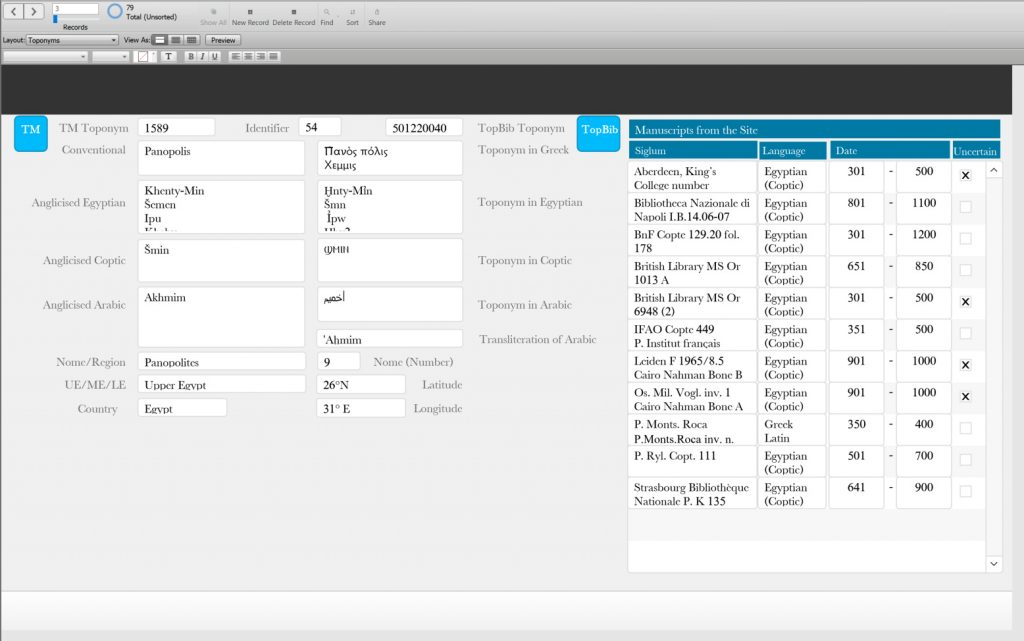 A screenshot of a filemaker database.